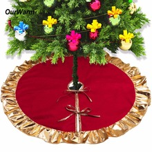 Ourwarm 1pc 90cm Red Christmas Tree Skirt with Golden Ruffle Edge New Year Decorations Xmas Decoration(China)