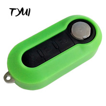 Green 3 Buttons Key For Fiat 500 Car Remote Flip Key Shells Replacements Fobs(China)