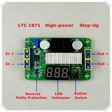 5piece/lot LTC1871 DC-DC Boost converter Adjustable Step-Up High Power Supply Module Red LED Voltage meter/ Button Switch