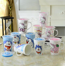 350ML Cartoon Hello Kitty Doraemon Home Office Ceramic Coffee Milk Tea Mug Cup With Lid Spoon