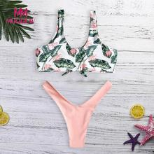 Buy MUQGEW 2018 Sexy Bandage Bikini Women Push Swimwear High Waist Swimsuit Print Brazilian Bikini Set Swim Suit Bathing Suits