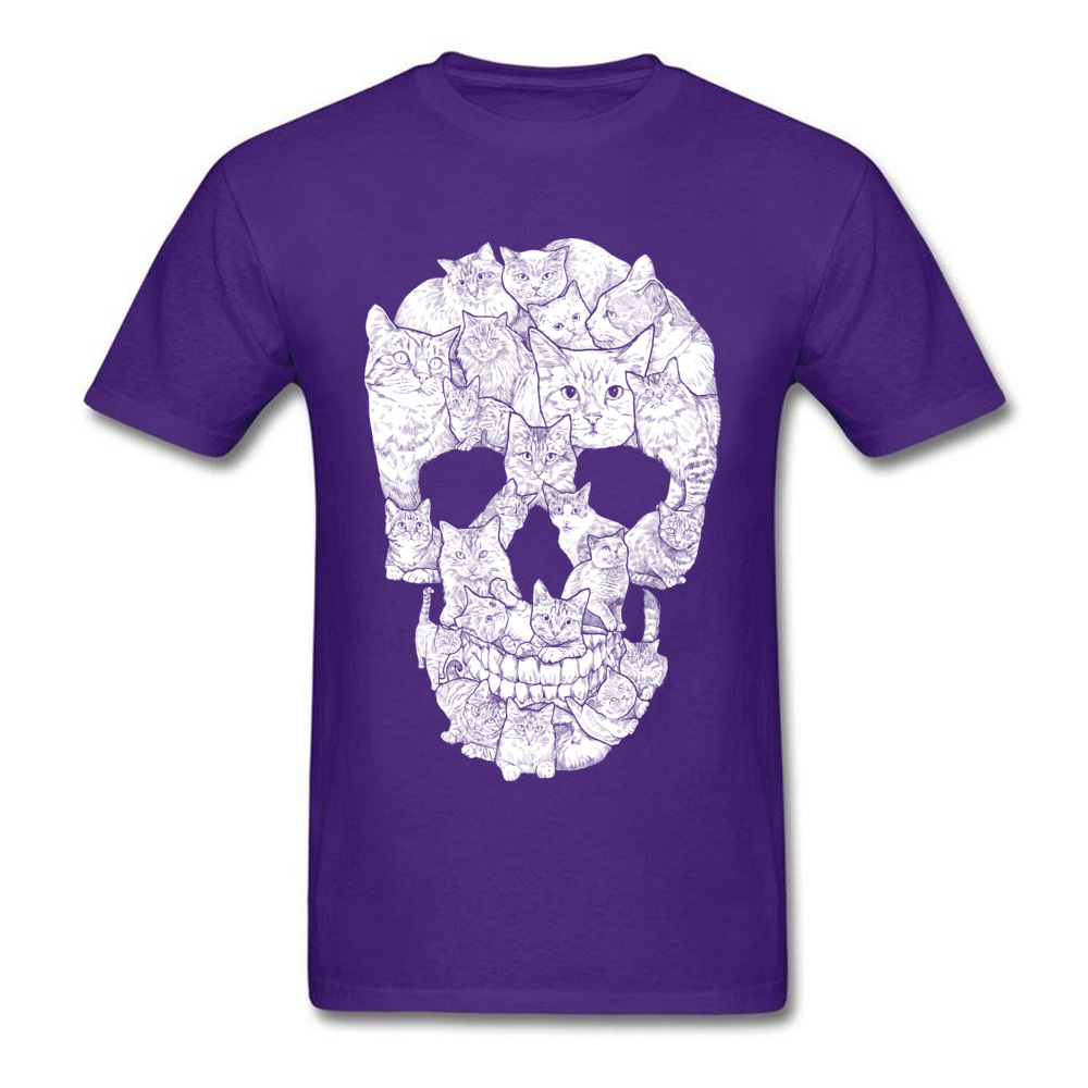 Sketchy Cat Skull Wholesale Short Sleeve Camisa T Shirt 100% Coon O-Neck Men T Shirt Casual Tee-Shirt Summer Autumn Sketchy Cat Skull purple
