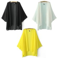 2017 Useful Sexy Spring Women's Loose Chiffon Cover UP Dress Kimono Cardigan Swimwear Blouse Outwear Yellow White Black Shirt(China)
