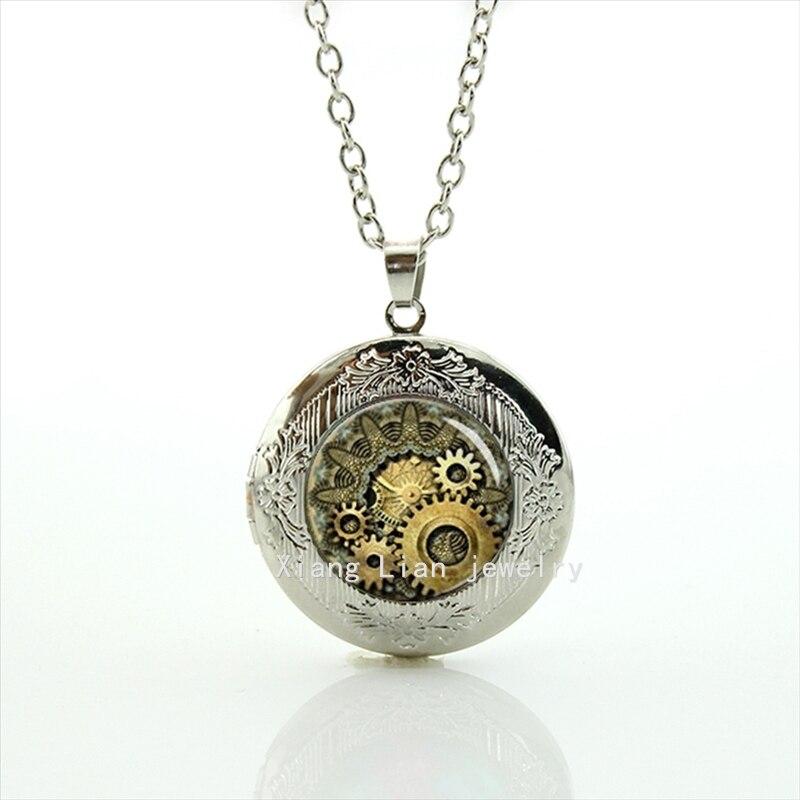 Perfect gifts interesting locket necklace Steampunk Clock Gear  Vintage design Striped Movement Mens jewelry T609 ברוכה את לה בתי