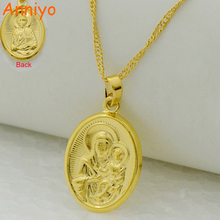 Anniyo Virgin Mary/Jesus Image Pendant Necklace Gold Color Catholic Church Jewelry,Russian Orthodox Church Cross Women Men