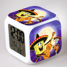 America Movie TV SpongeBob SquarePants Digital Alarm Clock Color Changing LED Clock 2017 Kids Best Christmas Toys(China)