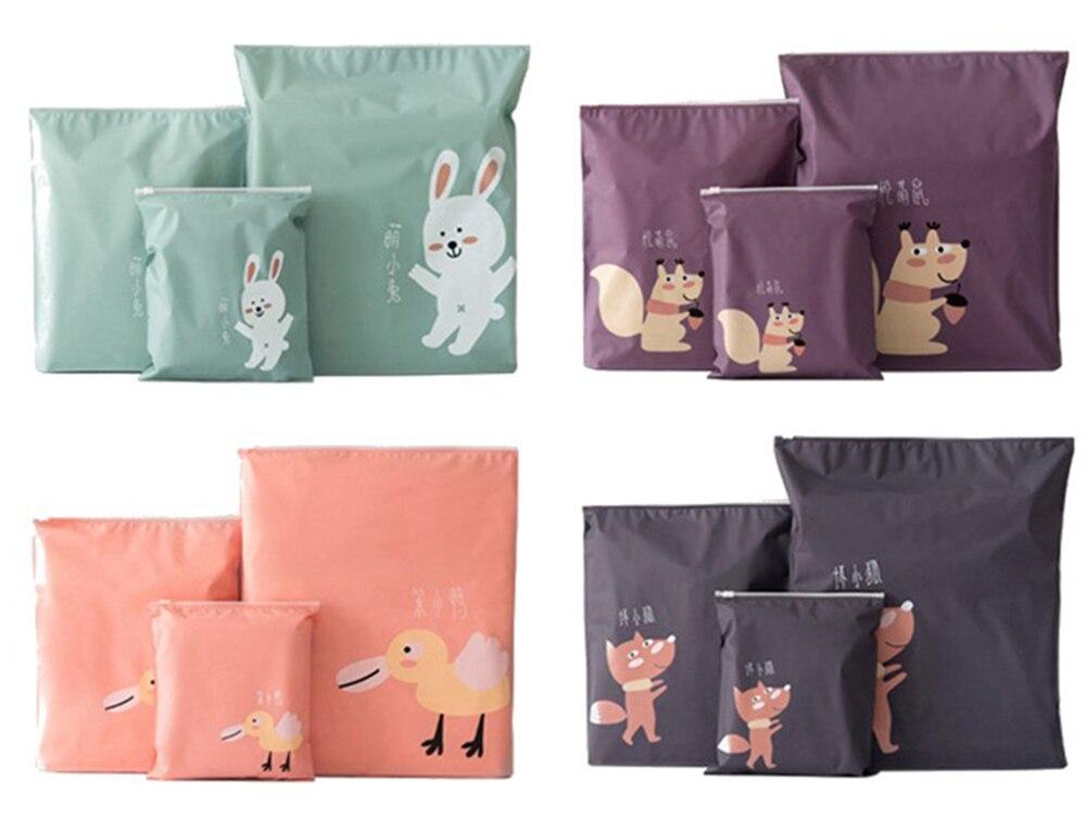 3Pcs-Set-Storage-Bags-PEVA-Zipper-Waterproof-Travel-Organizer-Cartoon-Squirrel-Rabbit-Fox-Duck-Animal-Home