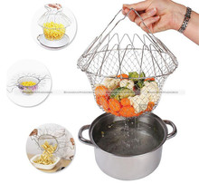 1 Pc Stainless Steel Expandable Fry Colander Mesh Strainer Net Cooking Steam Rinse Strain Basket SMB 48817081