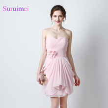 Free shipping Fast Delivery real sample pink Short Bridesmaid Dresses 2017 Maid Of Honor Robe De Mariage Bridesmaid Dresses