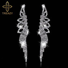 Buy TREAZY Sparkling Crystal Long Earrings Women Silver Color Rhinestone Bridal Bridemaid Wedding Party Earrings Fashion Jewelry for $1.05 in AliExpress store