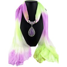 Women Spring New Elegant Ethnic Pendant Necklace Scarf Gradient Color Hijab Sunscreen Shawl for Lady 2
