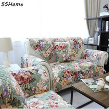 2447 dark green flower rustic 100% cotton sofa cushion sofa towel fabric cushion sectional sofa cover set(China)