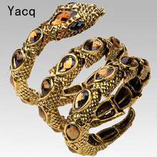 YACQ Stretch Snake Bracelet Armlet Upper Arm Cuff Women Punk Rock Crystal Bangle Jewelry Antique Gold Silver Color Dropship A32(China)
