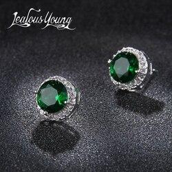 Классические зеленые круглые серьги-шпильки из Кубического циркония ААА, женские серьги-гвоздики с кристаллами для девочек, разноцветные м...