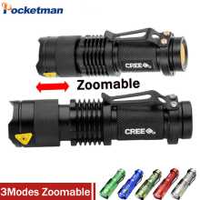 High-quality Mini LED Flashlight CREE Q5 2000LM Powerful Flashlight LED Laterna 3Modes Zoomable Portable 6Colors Torch