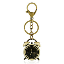 Bronze Plated Alarm Clock Style Keychain Bag Keyfobs Charm Men Punk Car Key Chain Ring Holder Novelty Jewelry Women Gift FY070