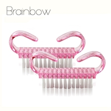 Brainbow 2pcs Pink Plastic Nail Brush Small Size Dust Clean Brush Nail Arts Manicure Pedicure Tools Mini Cute Style 6.8CM*5CM