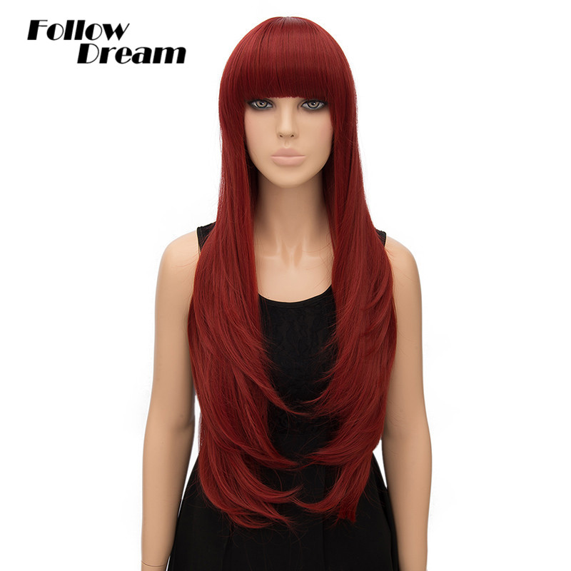 80cm Burgundy Long Synthetic Wigs Curly Rihannas Hairstyle None Lace Wigs Handmade Peruca Cosplay Heat Resistance Female Wig<br><br>Aliexpress