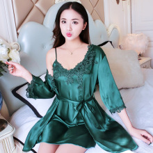 Buy Summer Sleepwear Green Satin Nightgown Women's NightIE&Robe Set Lace Embroidery Kimono Bathrobe Gown Sexy Intimate Lingerie