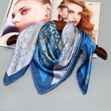 Large Square Silk Scarf Shawl Head Scarves for Hair Wrapping 100% Silk Twill Scarfs Wraps 88X88CM Fashion Print Scarves(China)