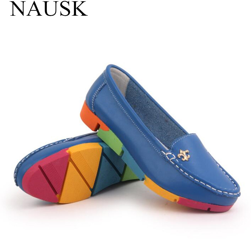 NAUSK Women Ballerina Flats Casual Shoes Genuine Leather Slip on Ballet Ladies Soft Moccasins White Green Blue Peach Camouflage(China)