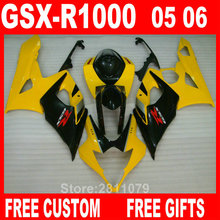 Injection molding 100% fit for Suzuki fairings GSXR1000 05 06 yellow black fairing kit GSXR1000 2005 2006 IT36