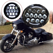 2017 NEW 1pcs 7 Inch 105w White LED Round Headlight Offroad Car Lamp Black with Angle Eye DRL for harley motorcycle lamp(China)