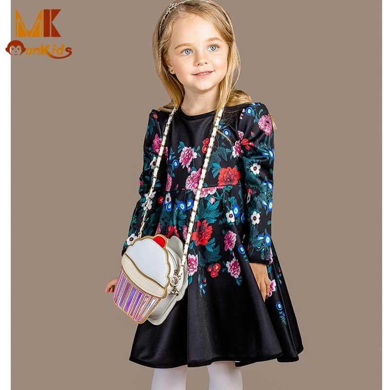 Monkids 2017 Flower Kids Dresses For Girls Floral Print Dress O-Neck Girls Dress Childrens Costumes Girls Clothes Clothing<br><br>Aliexpress
