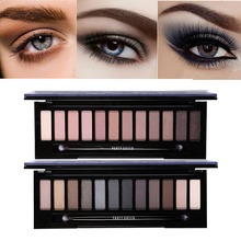 12 Color Naked Glitter Eyeshadow Palette Nude Makeup Earth Color High Pigment Smoky Eye Shadow Set With Mirror+Brush Makeup