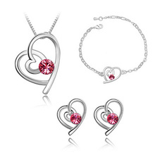 NO MINIMUM ORDER Christmas gift Free shipping Fashion white austrian crystal heart crystal jewelry sets 027