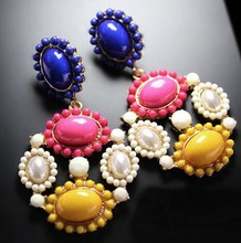 Min. order $9(mix order) Fashion Vintage Gorgeous Earrings Neon Color Block drop Earrings(China)