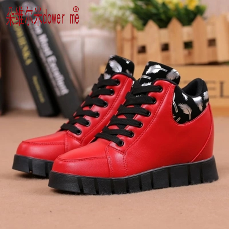New Womens Height Increasing Boots Autumn 2017 Breathable Platform Women Casual Shoes Women Thick Bottom Zapatos Mujer Elevator<br><br>Aliexpress