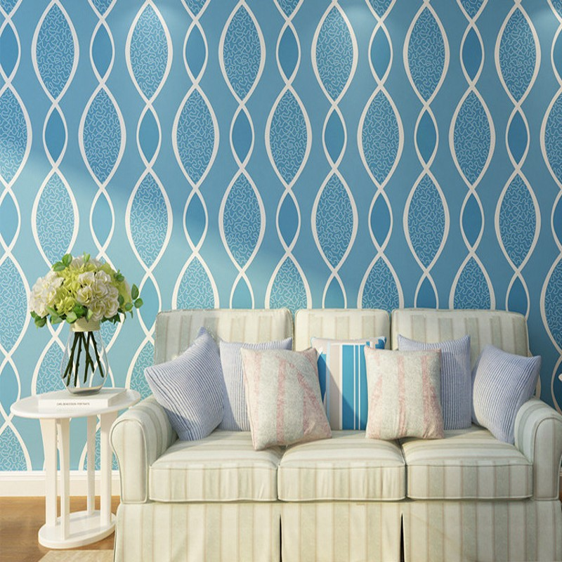 Free Shipping Modern non-woven relief wavy pattern wallpaper living room TV backdrop bedroom restaurant Wallpaper<br>