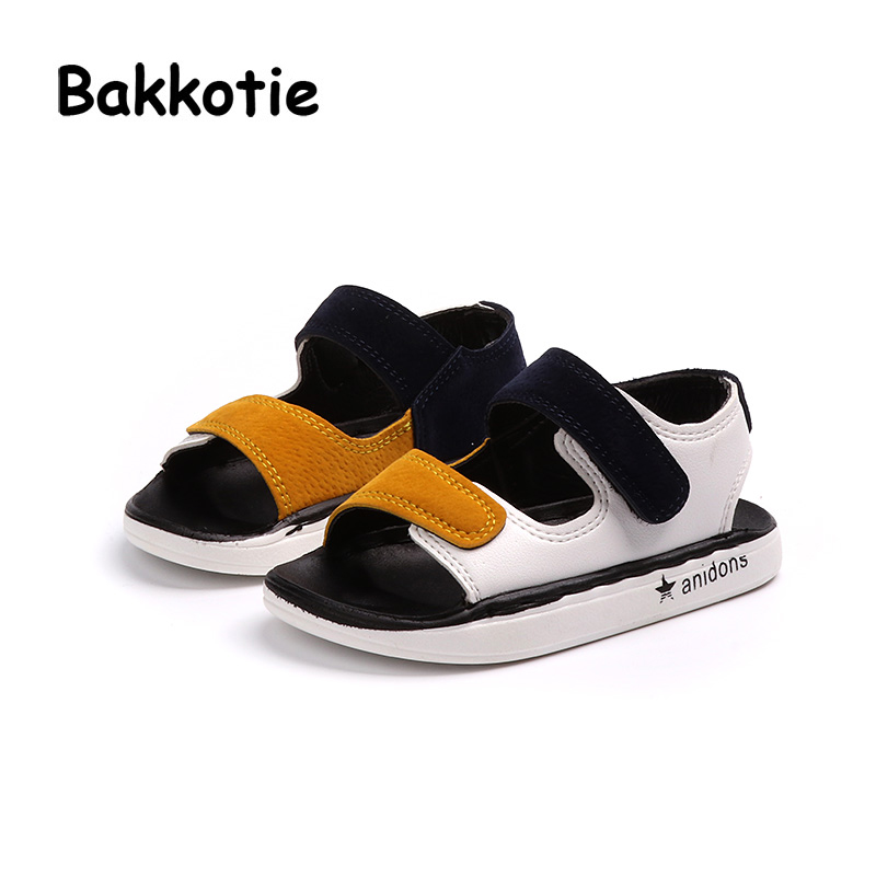 Bakkotie 2018 New Fashion Summer Baby Boy Beach Sandal Children Pu Leather  Red Casual Flat Toddler 25c21f45a04e