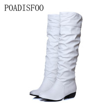 POADISFOO Plus size Women's Boots 2017 Advanced PU Knee Boots women boots black white brown low heel knee boots. XJY-000804