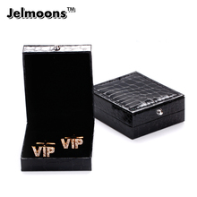 Free Shipping 2017 New Arrival Black Leather Cufflinks Box Gift Storage Case Cuff Box Jewelry Carrying Case