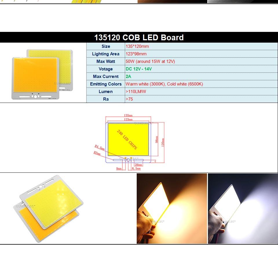 DC12V COB LED Strip Light Source 5W 10W 20W 50W 200W 300W LED Bulb White Blue Red Flip Chip COB Lamp DIY House Car Lighting 12V (15)