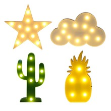 3D LED Plastic Lamp Cactus Light Pineapple Night Lamp Table Lamp LED Nightlight Home Christmas Decoration Gift 2017 Hot Selling