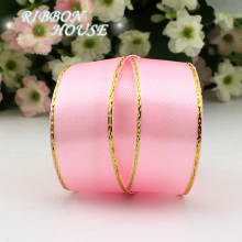 (25 yards/lot)3/4'' (20mm) grosgrain satin ribbons pink golden edge ribbon wholesale high quality gift packaging ribbons