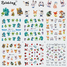 2017 New Arrival Famous And Funny Cartoon Character Series Water Transfer Nail Sticker Decorate Fingernails For Nail Art