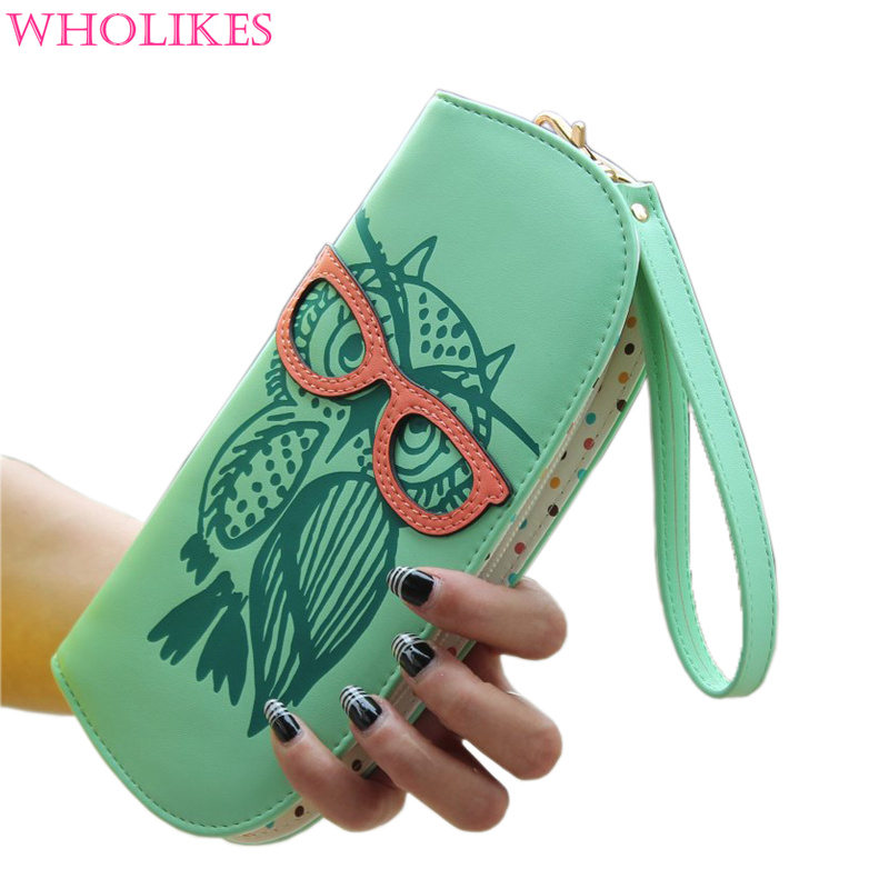 New Glasses Owl Printing Fashion Wristlet Women Purse Rounded Zipper Long Women s Leather Wallets Clutch Card Holder DLL-143<br><br>Aliexpress