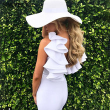 Sibybo Shoulder Slim Ruffle Dress Women 2017 Summer White Patchwork Bodycon Sexy Short Evening Party Dresses Vestidos - Boutique Store store