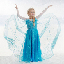 2017New Girls Dress Long-Sleeve Spring and Summer Anna Elsa Dresses Kids Clothes Children's Clothing Party Snow Queen Costume(China)
