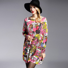 High Qualtiy Women's Dress 2016 Fashion Wool Blend Knitting Pullovers Loose Long Sleeves Jumpers Oversized Print Sweaters 6150