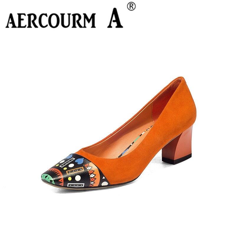 Aercourm A 2017 Woman Cowhide Shoes Black Square Toe High Heels Autumn Wedding Female Women Pumps High Heels Casual Shoes H800<br>