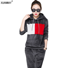 Women Winter Suits Velvet Tracksuits Print Letter Hoodies Tops Long Pants Flannel Sporting Suits(China)