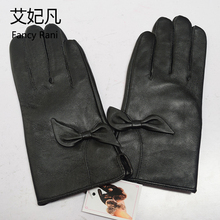 Women Luxury Genuine Leather Gloves Black Fashion Elegant Bow Sheepskin Gloves for Girls Touch-Screen Sheep Skin Gloves Female