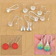 Free Shipping Wholesale 20PCS Lot Findings Bright 925 Sterling Silver Earring Bail Trumpet Hook Ear Wires For Swa Crystal(China)