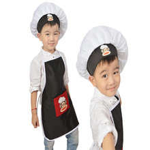 Polyester Kids Apron and Chef Hat Child Cooking Drawing Costume Cartoon Monkey Baby Apron Avental de Cozinha Divertido Pinafore(China)