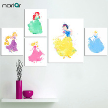 Cartoon Princess Watercolor Poster Print Wall Art Girl Canvas Painting No Frame Ariel Belle Snow White Cinderella Jasmine(China)